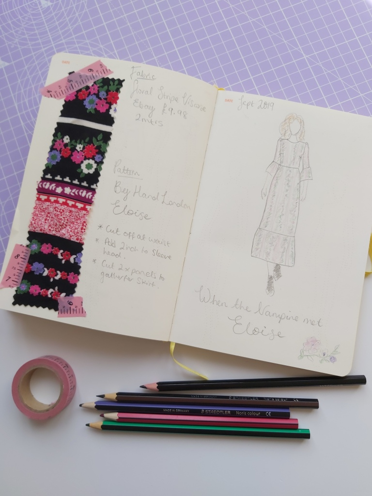 a lilac cutting mat set on a desk. A fashionary journal lies on top which shows a fashion sketch with notes and a fabric swatch